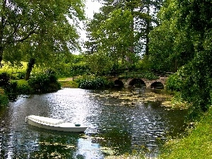 trees, Pond, Boat, green, viewes, bridges