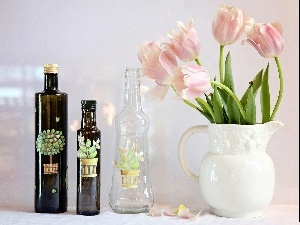 Bottles, pitcher, Tulips