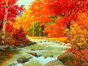 Autumn, River, boulders, forest