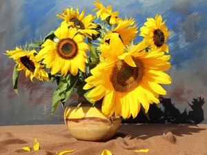 Flowers, bouquet, Vase, Nice sunflowers