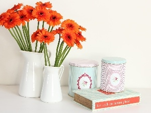 Orange, White, Boxes, Book, gerberas, bottles