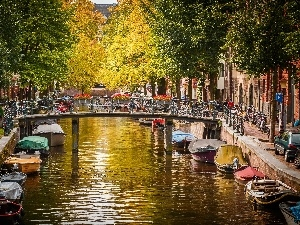 canal, Netherlands, bridge, autumn, Boats, Amsterdam