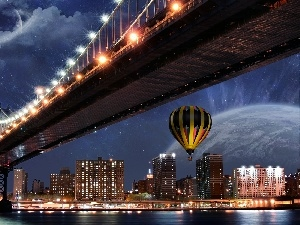 bridge, Balloon, Night, light, Town