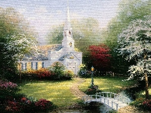 Church, River, Thomas Kinkade, bridges, viewes, picture, painting, trees