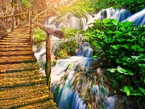 bridges, waterfall, wooden