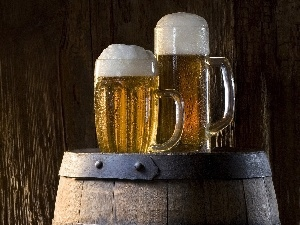 barrel, Beer, Bright, Mugs