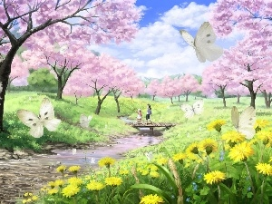 Manga, River, butterflies, Meadow