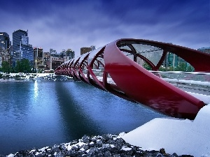 Canada, Picture of Town, River, Calgary, bridge
