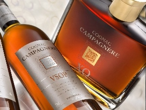 Three, cognac, Campagnere, Bottles