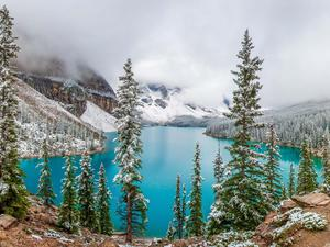 Alberta, Mountains, trees, Banff National Park, woods, winter, viewes, Spruces, Stones, clouds, Moraine Lake, lake, snow, Canada