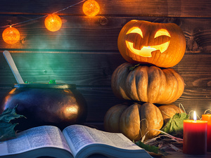 Book, Candles, pumpkin, lantern, halloween