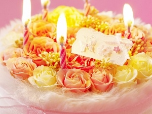 candles, Cake, roses