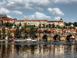 Hradcany Castle, Charles Bridge, Prague, Vltava, Czech Republic