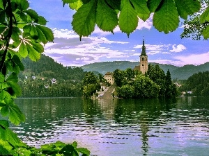 Bled, lake, chestnut, Church