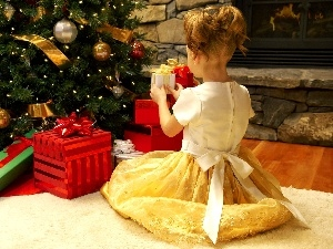 gifts, girl, christmas tree