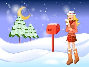 girl, winter, christmas, letter