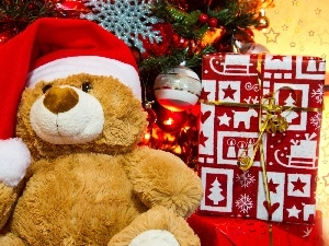teddybear, pack, christmas tree, Bonnet