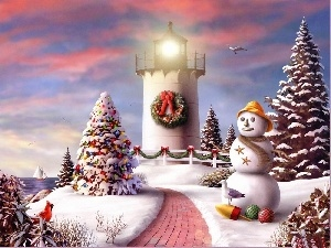 Christmas, winter, Lighthouse, maritime, Snowman