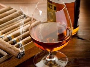 Cigars, glass, Whisky