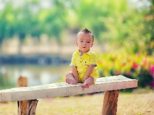 boy, Yellow, clothes, Bench