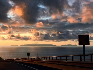 Way, lake, clouds, crash barrier