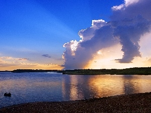 lake, clouds