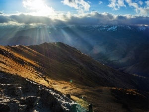 rays of the Sun, Mountains, clouds