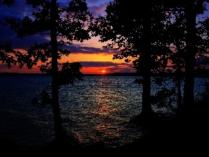 clouds, Great Sunsets, trees, viewes, lake