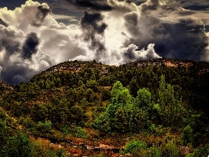 viewes, Mountains, clouds, View, Sky, trees