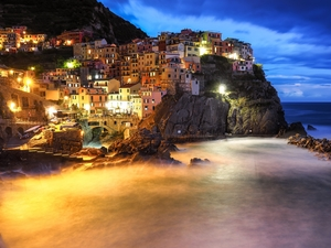 rocks, Coast, Manarola, Houses, Italy