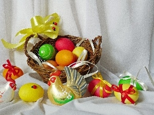 basket, easter, cocks, eggs