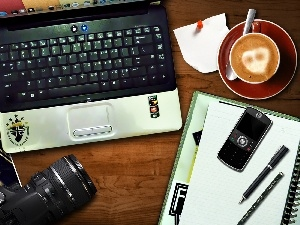 laptop, Telephone, coffee, Camera