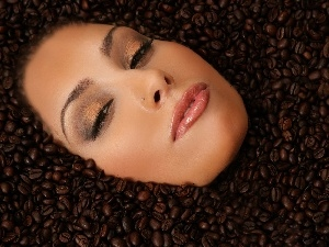 woman, grains, coffee, face