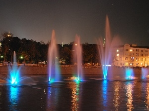 Fountains, Moscow, color, light, Night, River