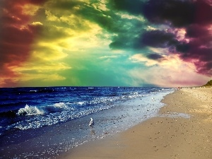 color, Sky, sea, Beaches, clouds