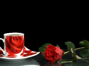 cup, rose, composition, coffee
