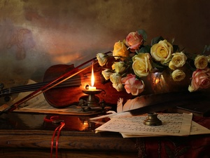 roses, violin, Tunes, composition, candle, Flowers