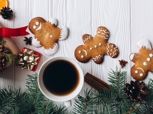 coffee, Christmas, Twigs, cones, gifts, ginger