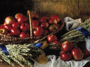 corn, basket, apples