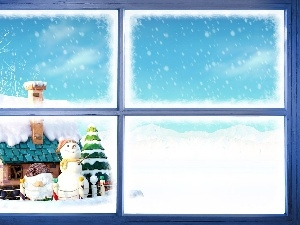 Cottage, Snowman, winter, snow, Window
