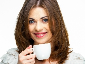 cup, coffee, smiling, Women, Beauty