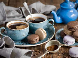 coffee, composition, cups, cookies, rose, kettle, Plates, grains, Macaroons