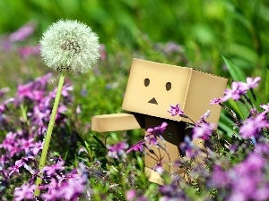 Flowers, Meadow, Danbo, Pink, summer, dandelion, blur