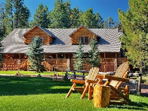 wooden, Lawn, deck chair, house