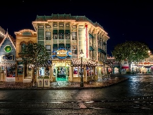 Street, Night, California, buildings, Town, Disneyland, USA