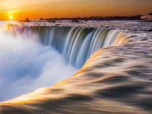 River, Great Sunsets, Niagara Falls, Fog, waterfall
