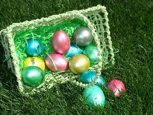 color, basket, Easter, eggs