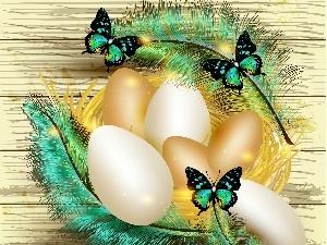 Easter, graphics, butterflies, feather, eggs