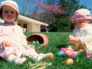 Easter, Kids, grass