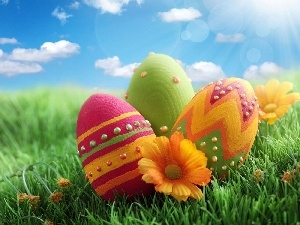 Sky, eggs, easter, grass
